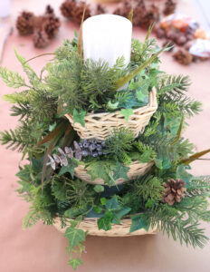 Add greenery (pine and grasses)