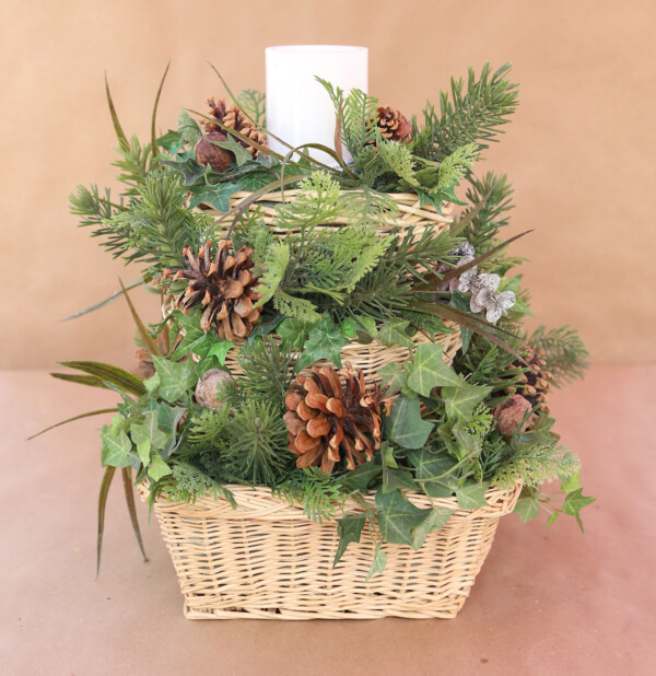DIY stacked basket centerpiece ready for fall accents