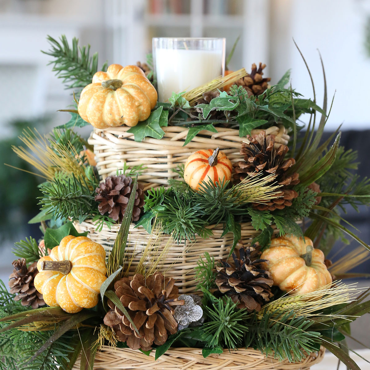 DIY Fall Basket Centerpiece with Candle