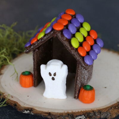 "Halloween ""gingerbread house"" made with chocolate graham crackers"