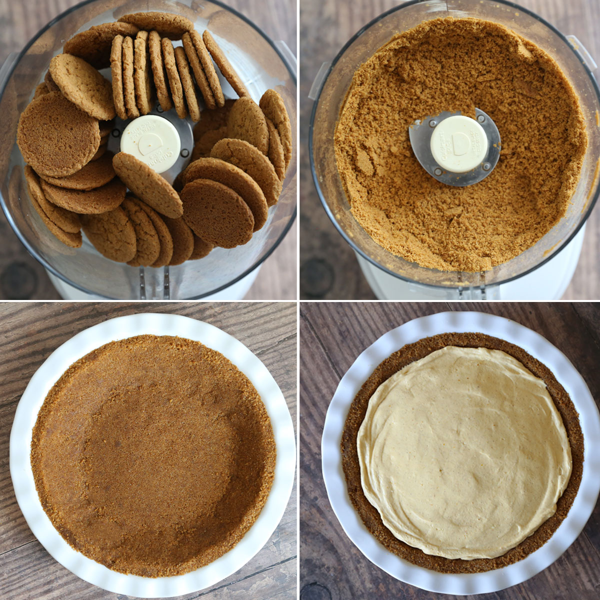 Gingersnap cookies in the food processor; gingersnap crumbs; gingersnap crust filled with pumpkin cheesecake