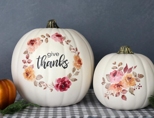 DIY Floral Pumpkins made using printable tattoo paper