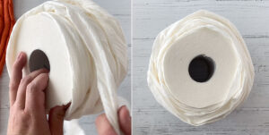 Toilet paper, rolled back up to create a rounded shape
