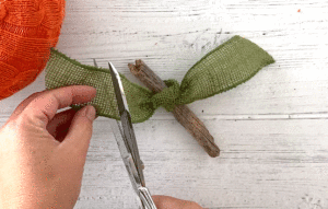 Scissors cutting green ribbon that's been tied around a short stick