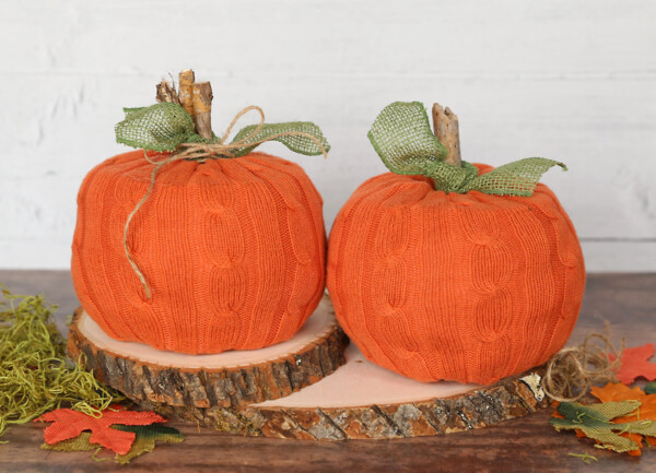 Toilet paper pumpkins made from a sweater