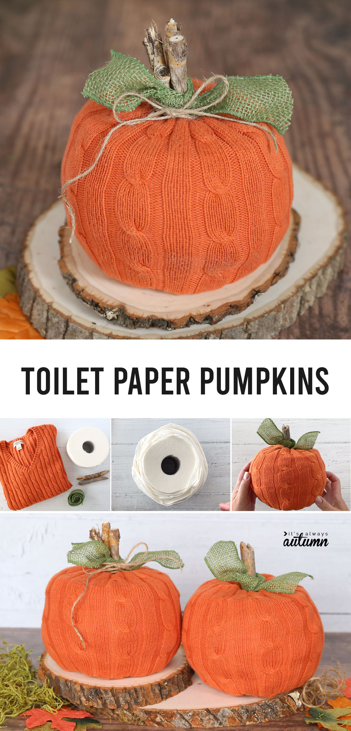 Use a thrifted sweater to turn a couple rolls of toilet paper into adorable pumpkins