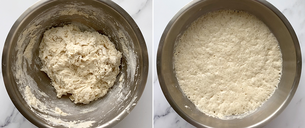 Pizza crust: stir ingredients together, rise 8-24 hours until puffy