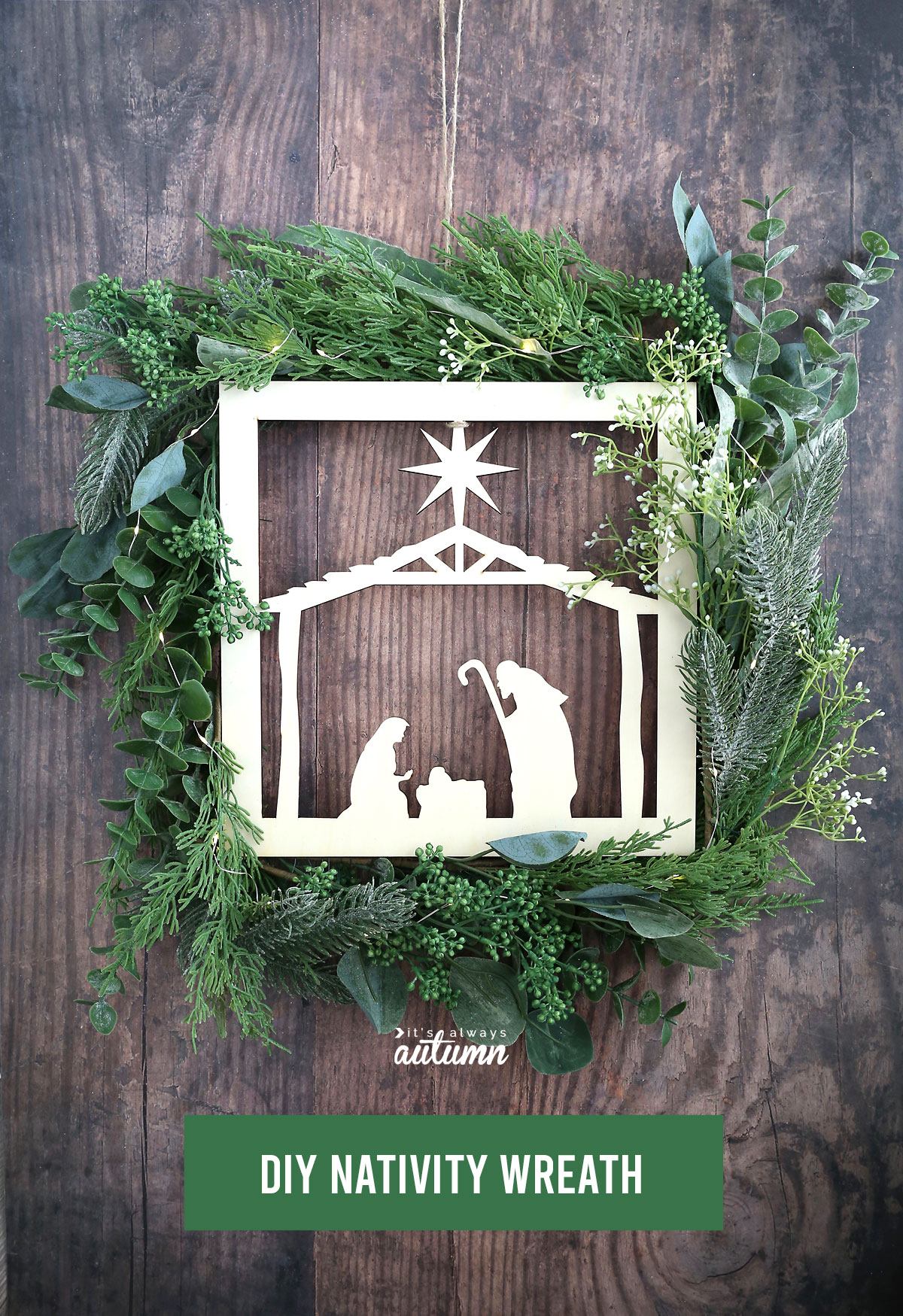 Beautiful DIY Nativity Wreath