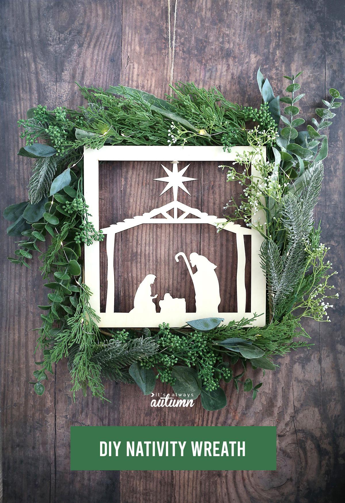 Beautiful DIY Nativity Wreath