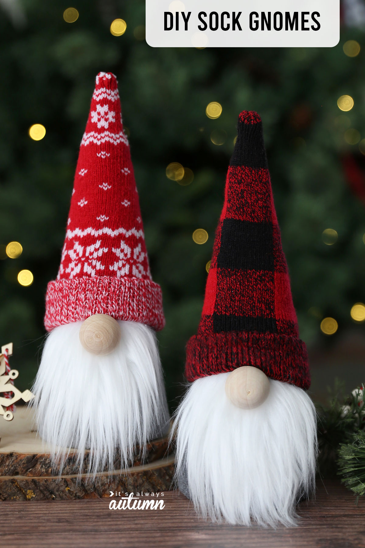 DIY sock gnomes made with cute red, white, and black patterned Christmas socks