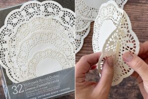 Separate two layers of each size doily from the stack