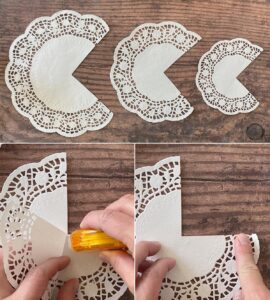 Cut a quarter out of each double layer doily and adhere