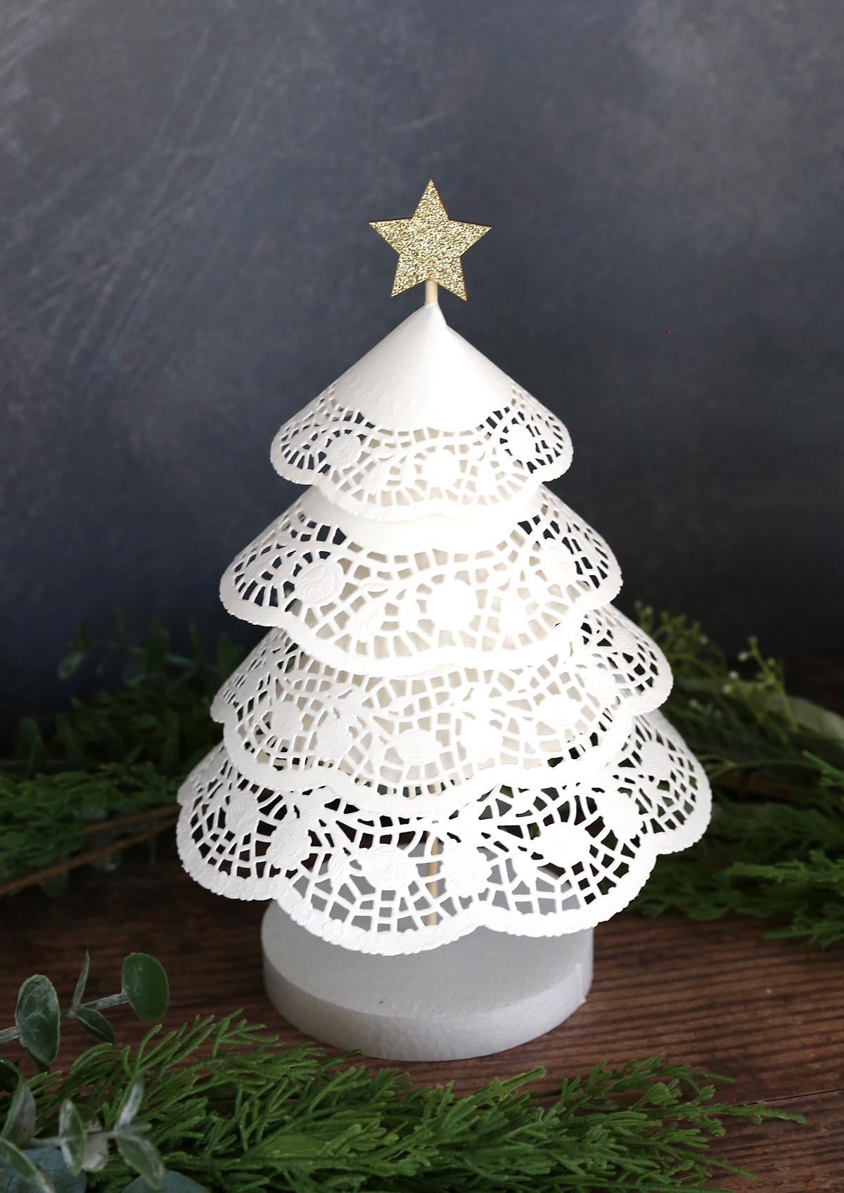 Paper doily tree with styrofoam base (from the Dollar Store)