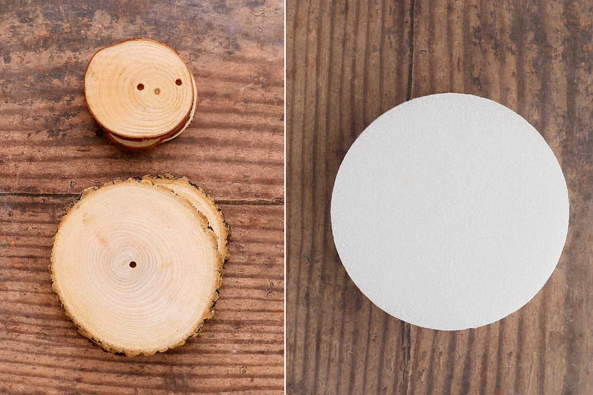 Doily Christmas tree bases: wood slice or styrofoam disc
