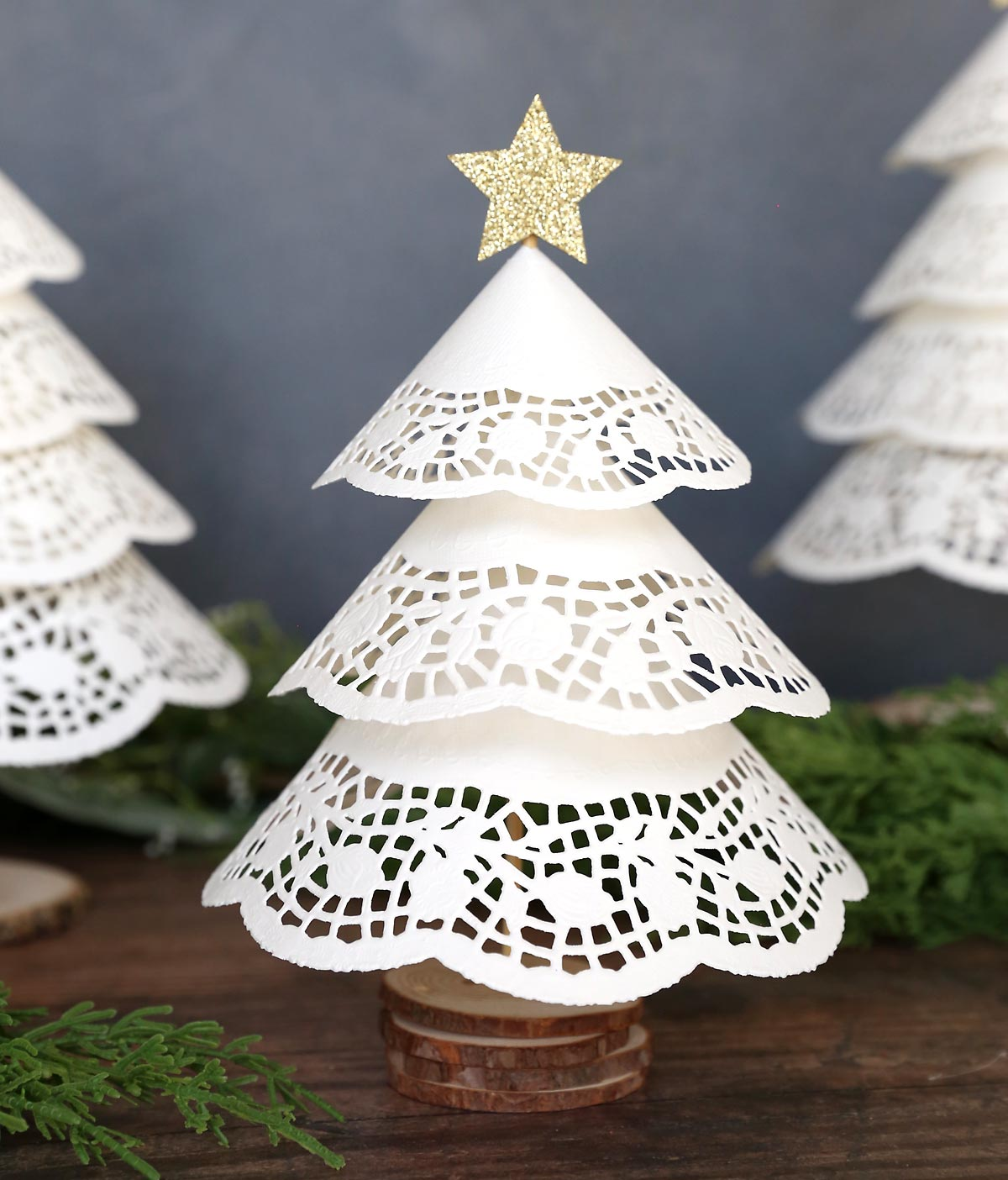 Christmas tree made from a paper doily