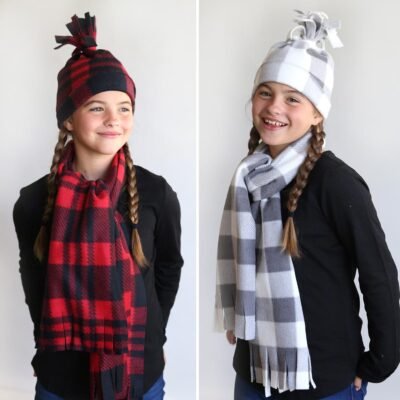 DIY Fleece Hat + Scarf Set {in under 20 minutes!}