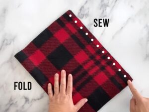Fold fleece in half and sew
