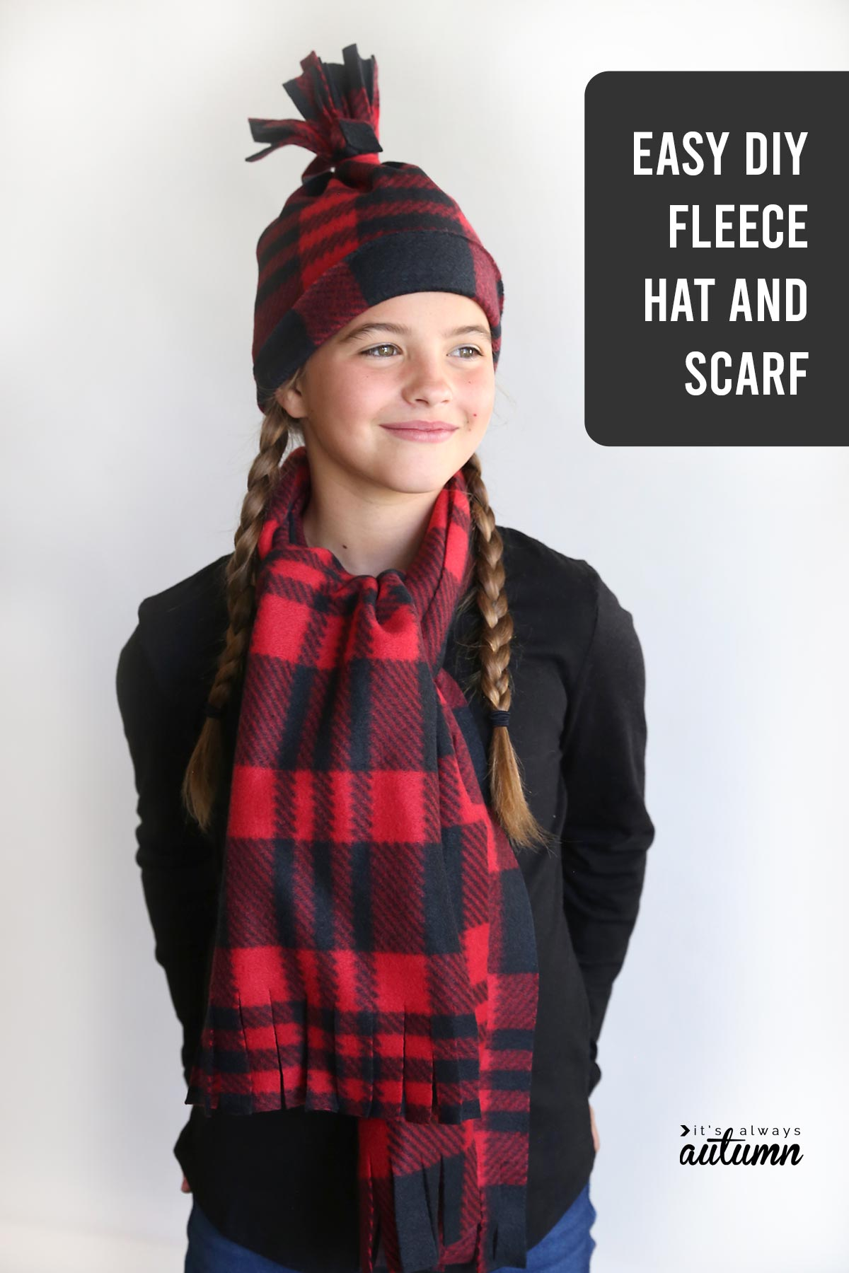 You can make this adorable fleece hat and scarf set in under 20 minutes!