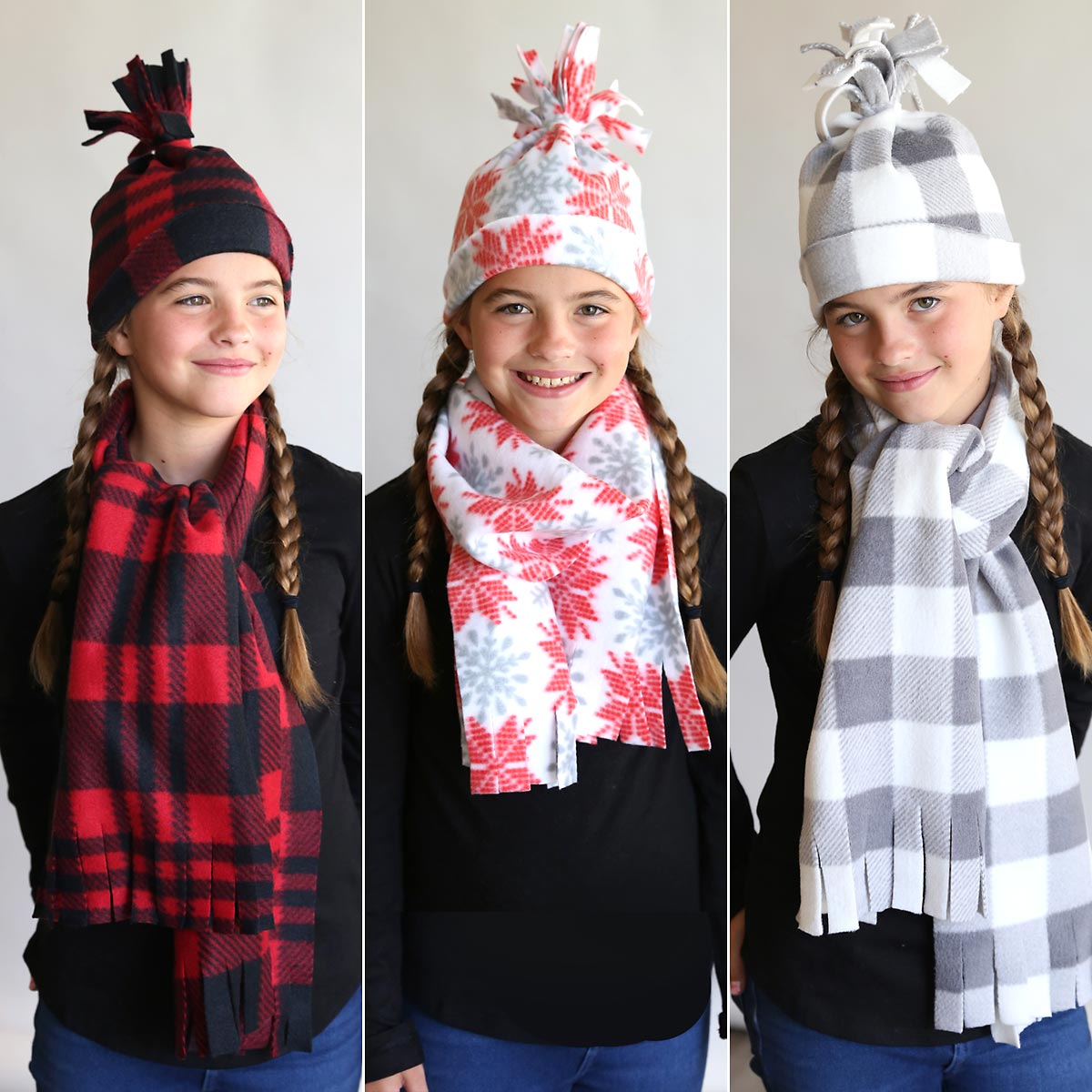 Easy DIY fleece hat and scarf sets