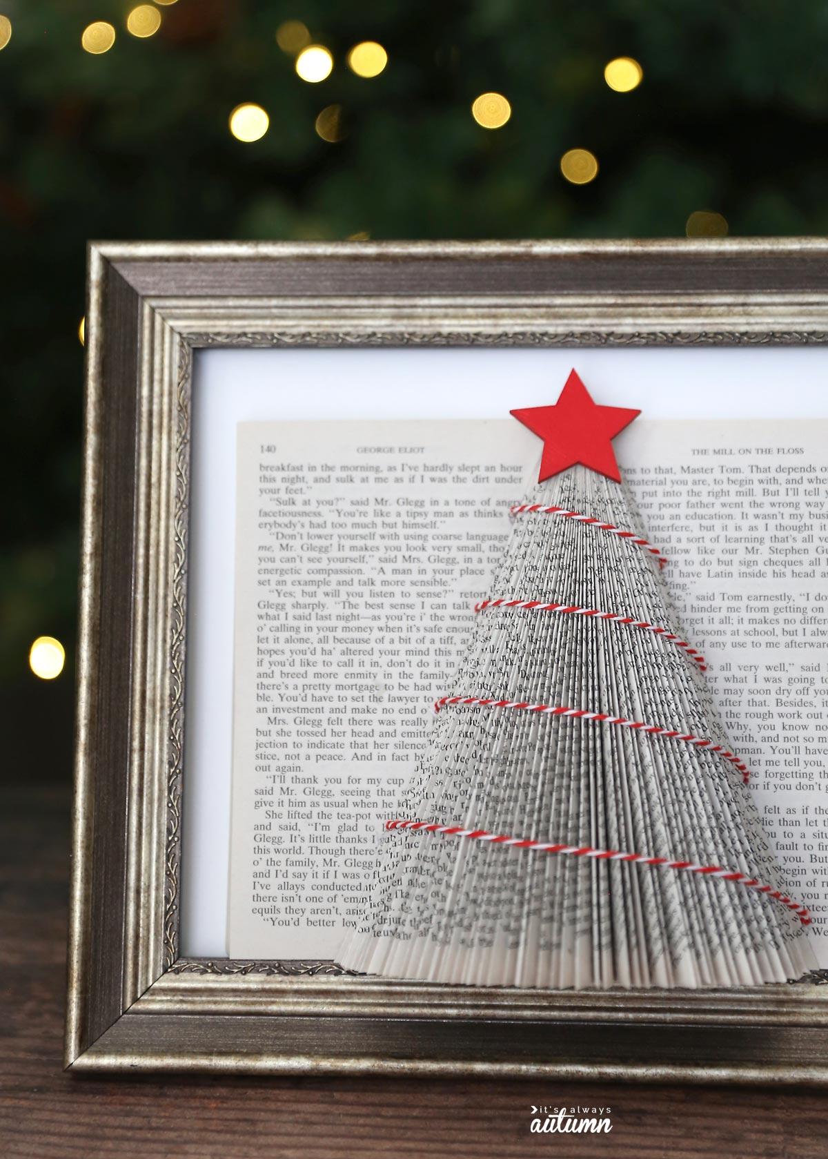 Closeup of folded book Christmas tree