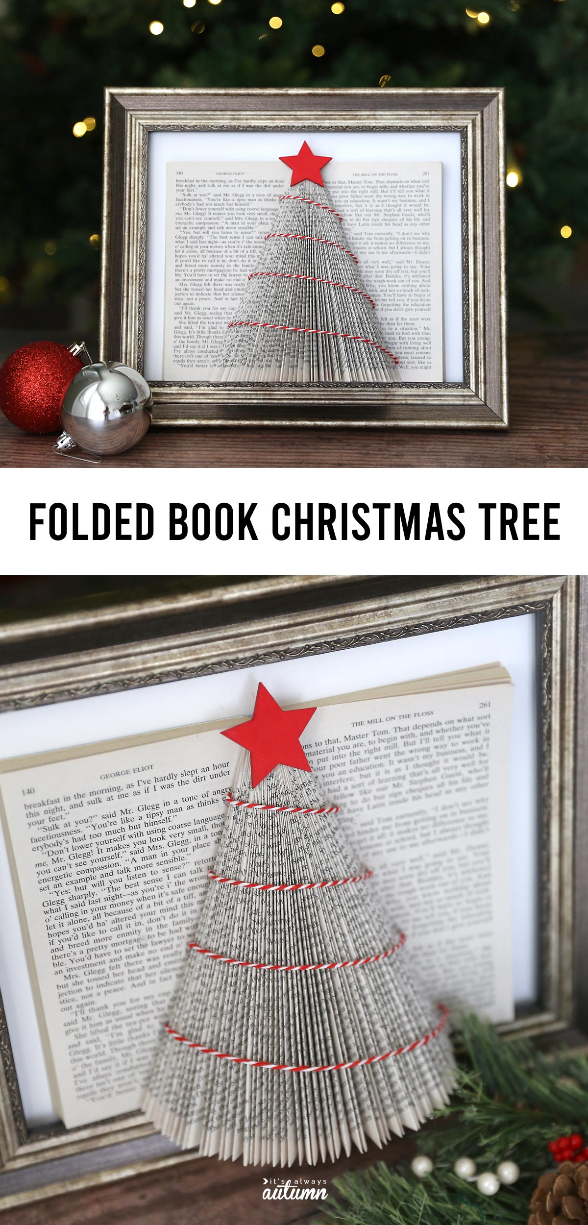 Learn how to make this pretty folded book Christmas tree with an old book from the thrift store. Easy Christmas craft.
