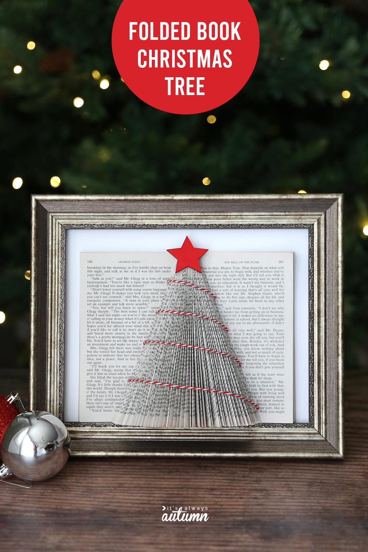 Christmas tree made from pages of a book. Easy Christmas craft.