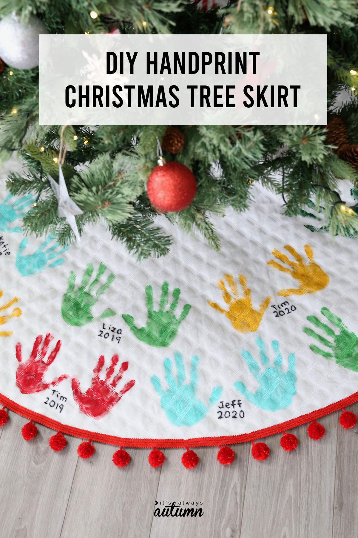 DIY Handprint Christmas Tree SKirt