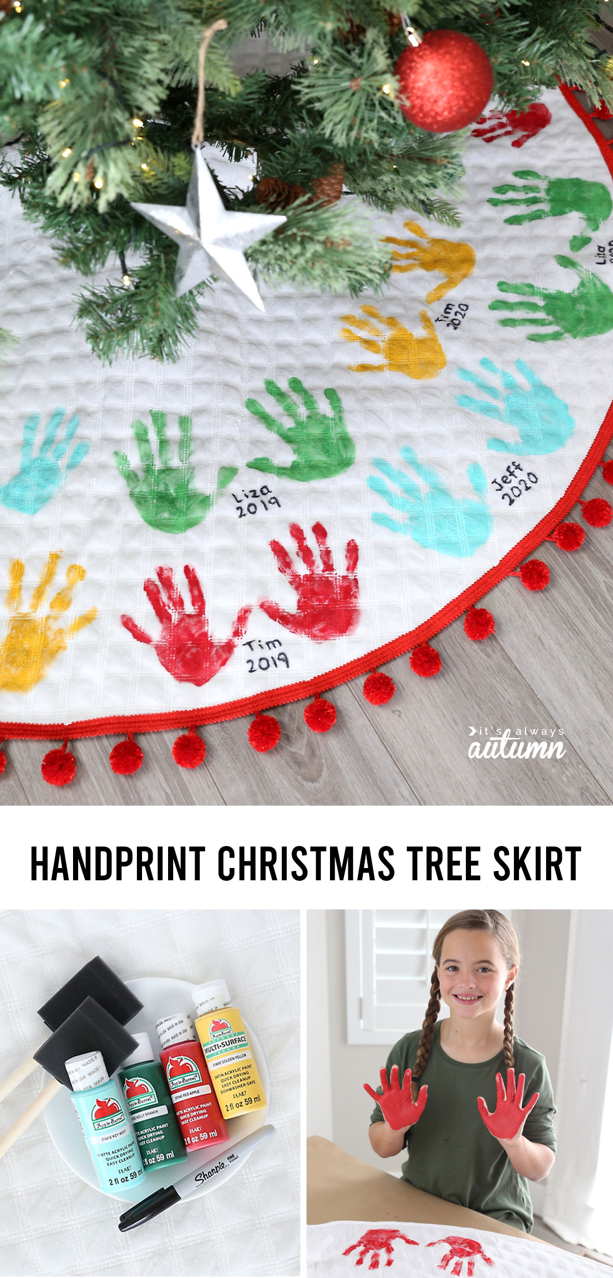 You can make this adorable handprint Christmas tree skirt and add to it every year!