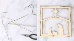 Take apart wire hangers to create square base
