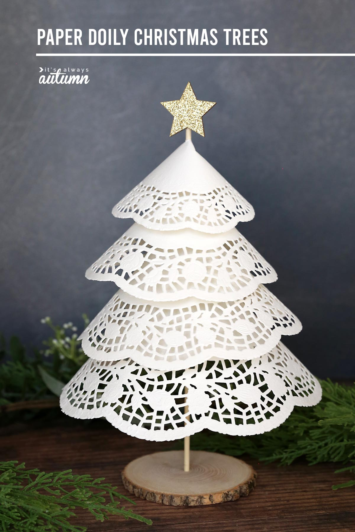 Pretty paper doily Christmas trees are made with inexpensive supplies from the Dollar Store!