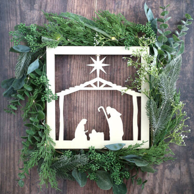 DIY Nativity Cutout Wreath