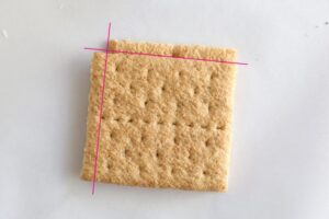 Two graham cracker halves, cut square