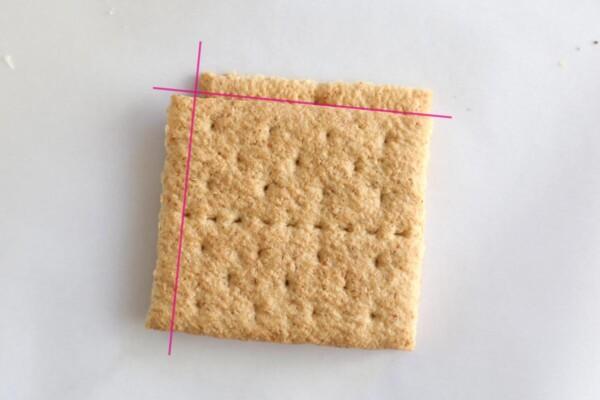 Two graham cracker halves, cut square