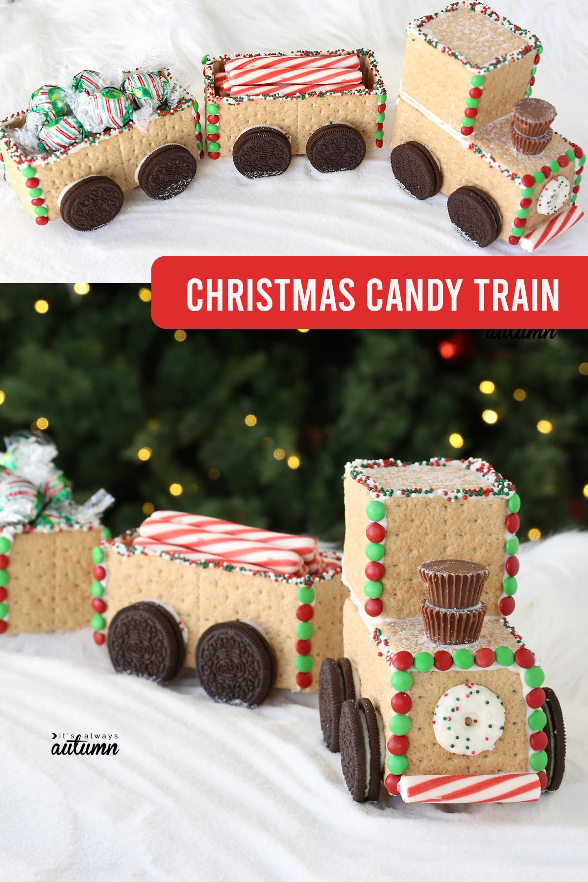 Christmas train made from graham crackers