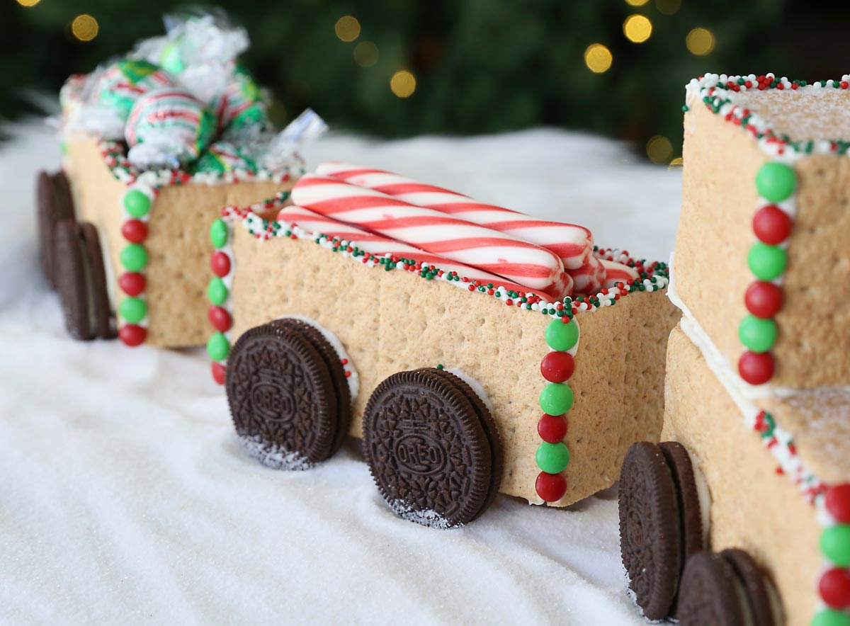 Graham cracker train car filled with peppermint sticks