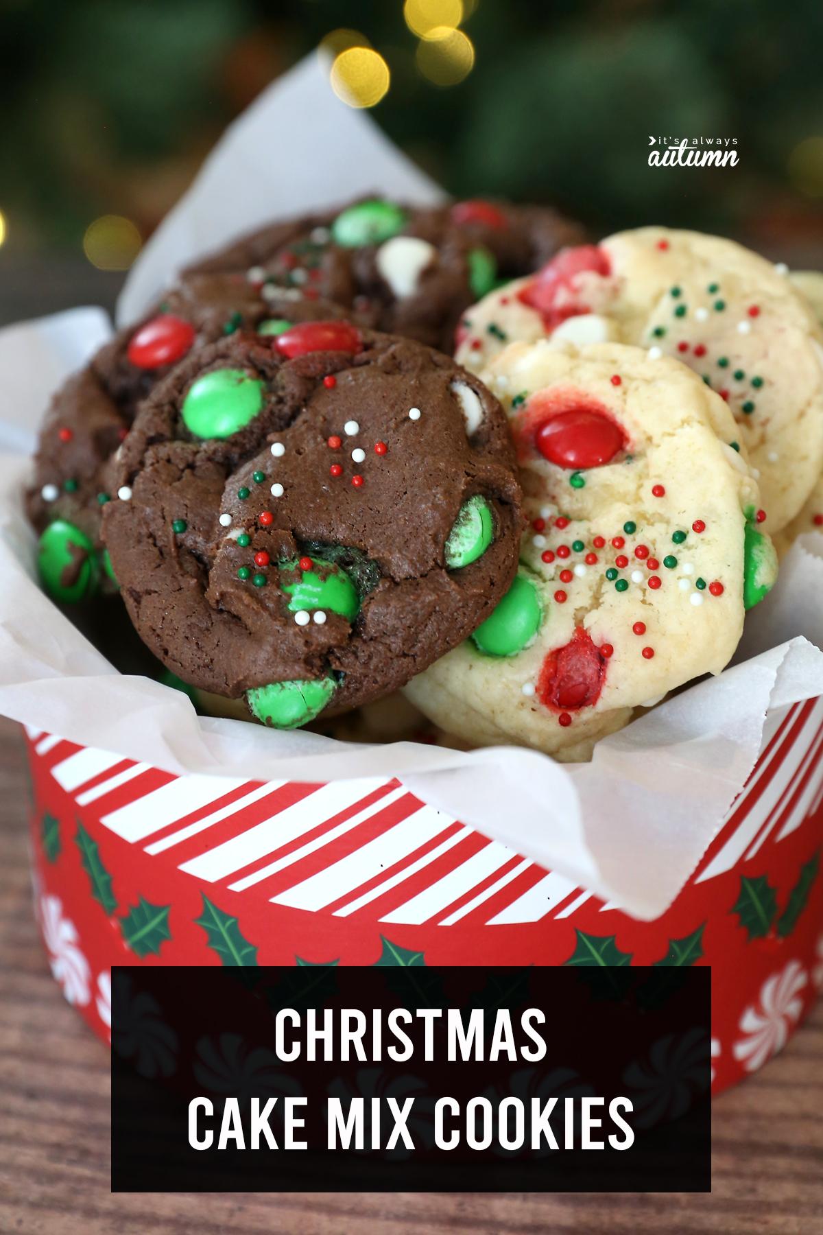 Chocolate and vanilla cake mix Christmas cookies