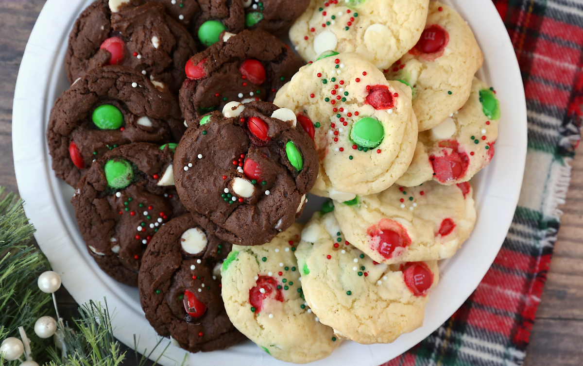 Chocolate and vanilla cookies with red and green M+Ms and white chocolate chips