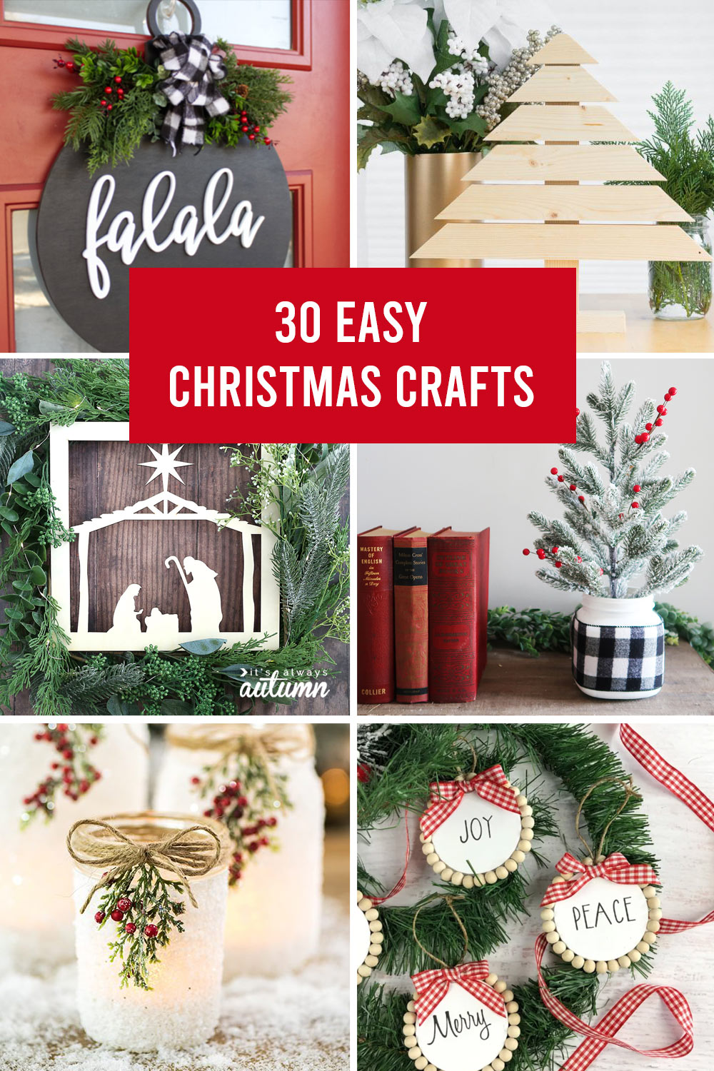 collage of 30 Christmas craft projects for adults