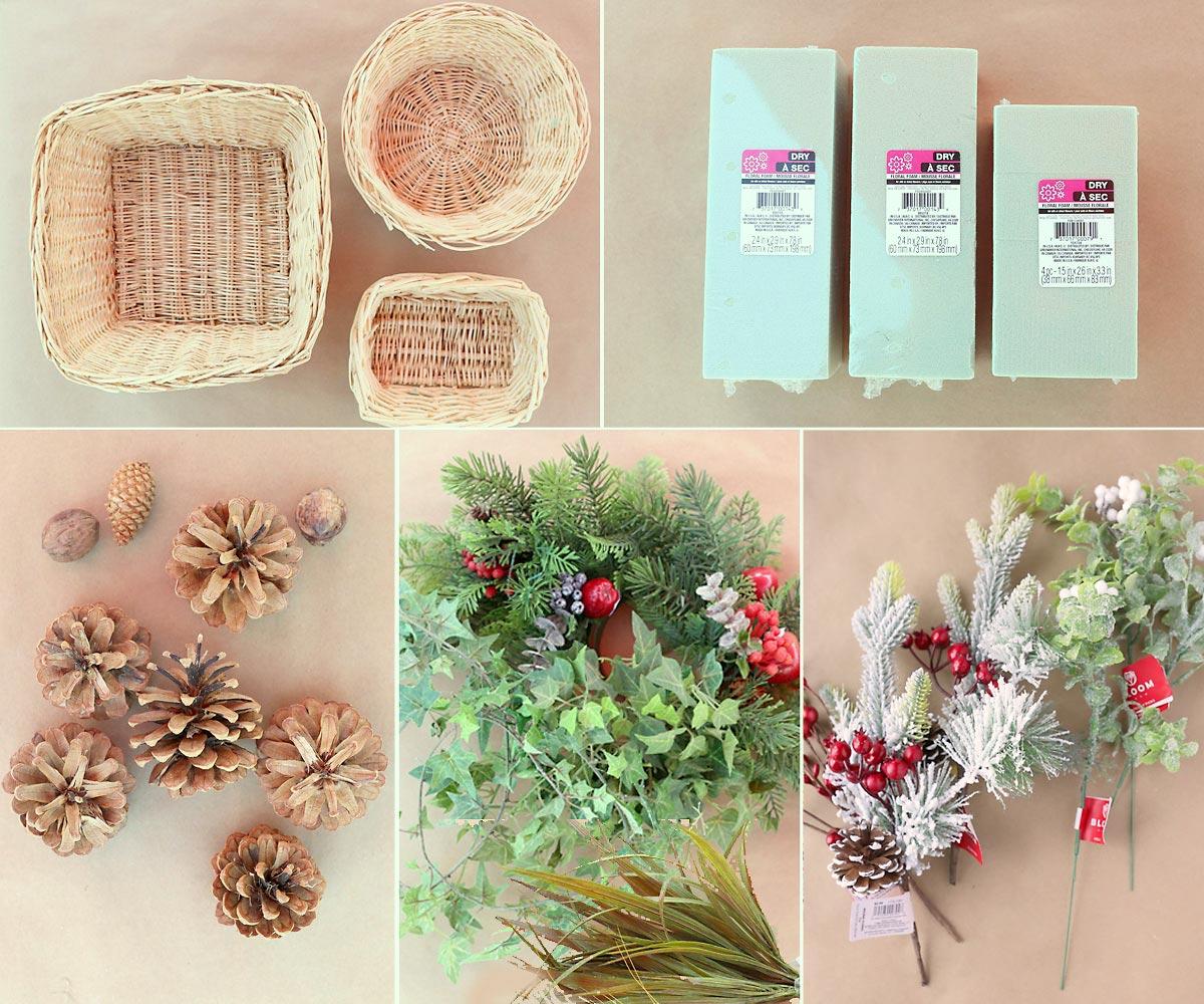 Centerpiece supplies: wicker baskets, floral foam, pinecones, faux greener