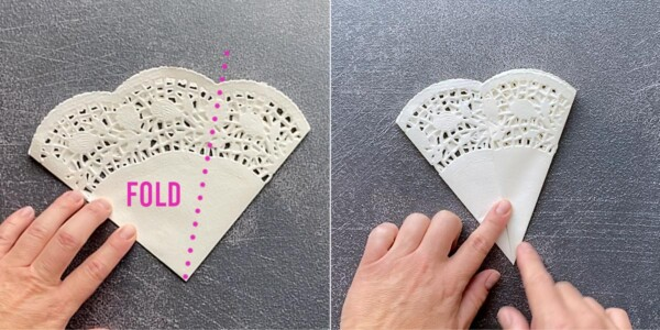 Paper doily quarter with one third folded over