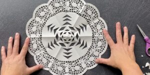 Finished paper doily snowflake