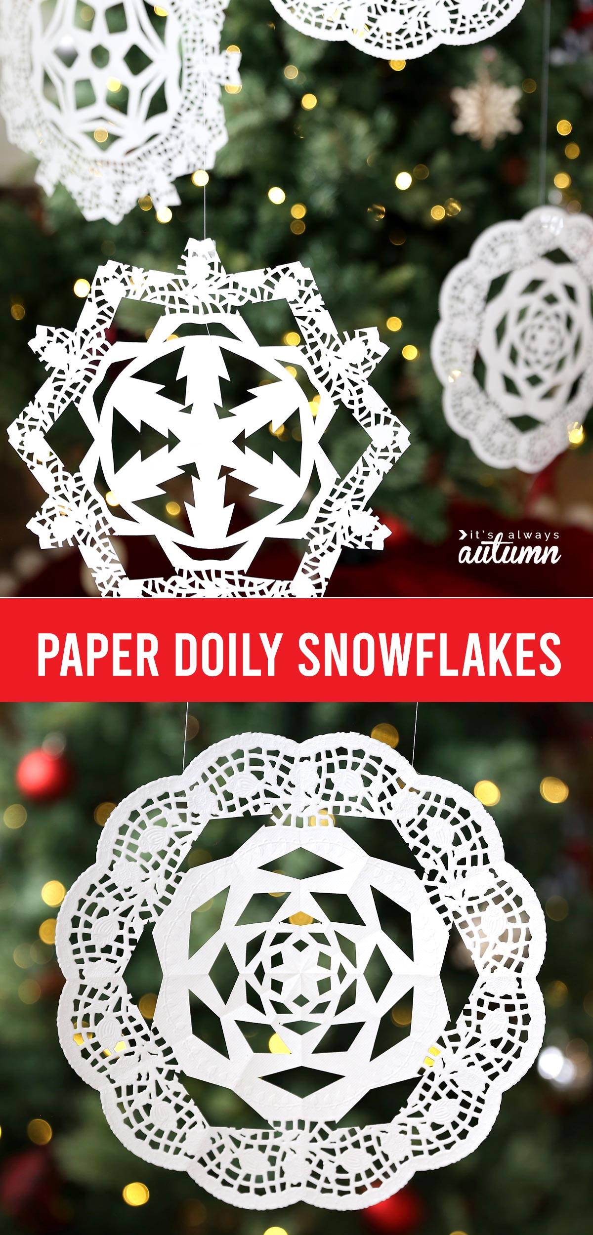 Snowflakes cut from paper doilies