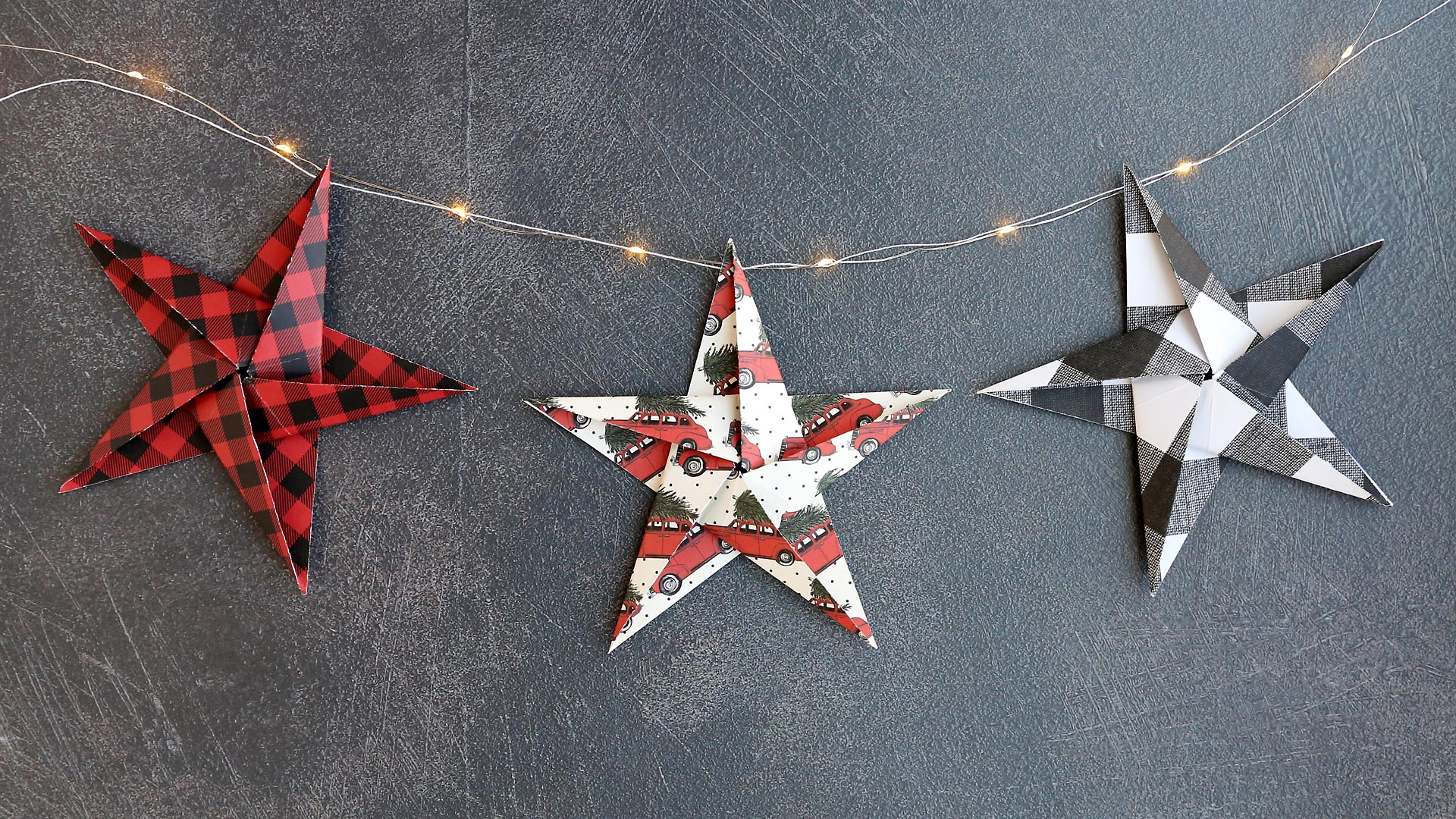 Paper origami star garland
