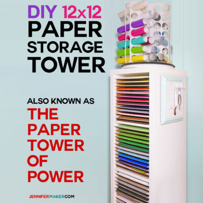 Tall white storage unit with multiple shelves for holding paper