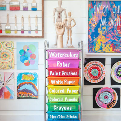 10 drawer storage cart with rainbow colored drawers, labeled to organize craft supplies