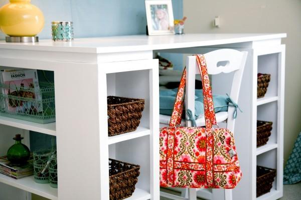 DIY craft desk with storage baskets underneath
