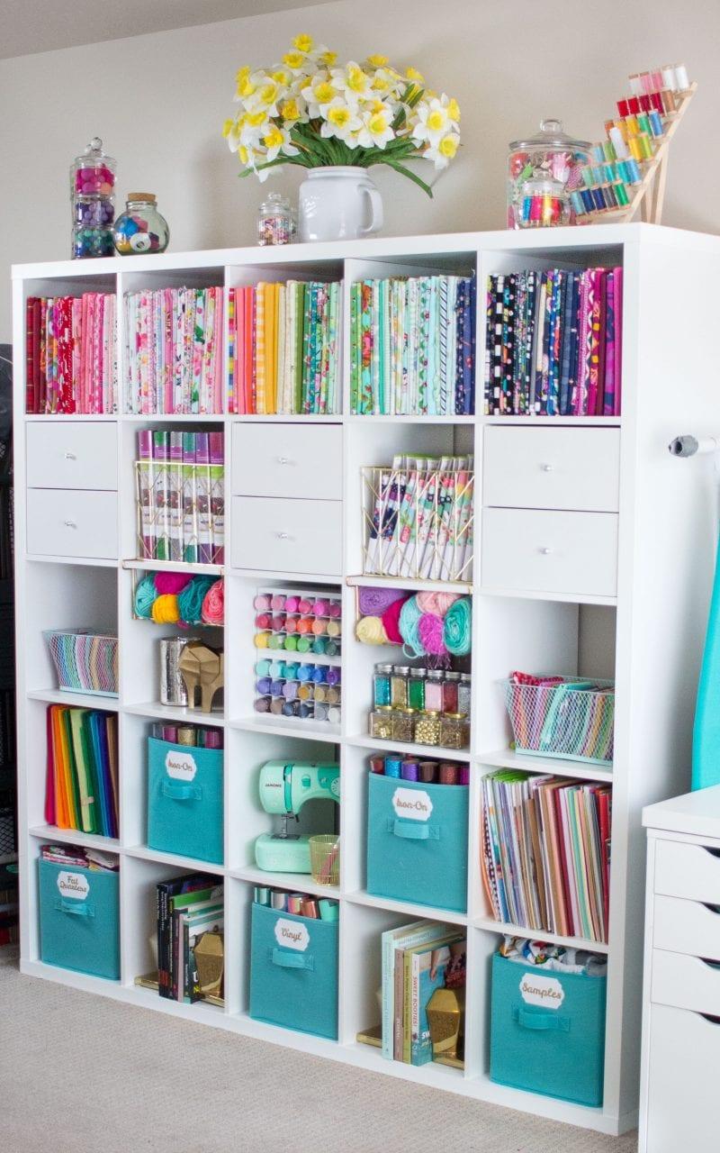 IKEA Kallax cube storage full of fabric