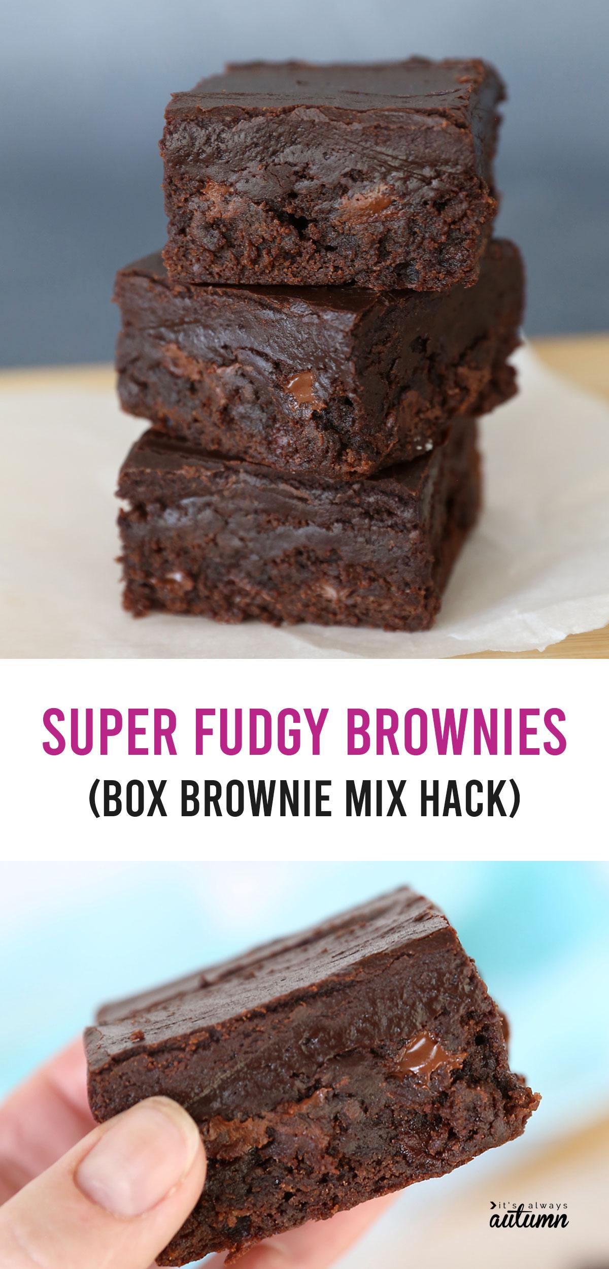 Stack of fudgy brownies; hand holding brownie; box brownie mix hack