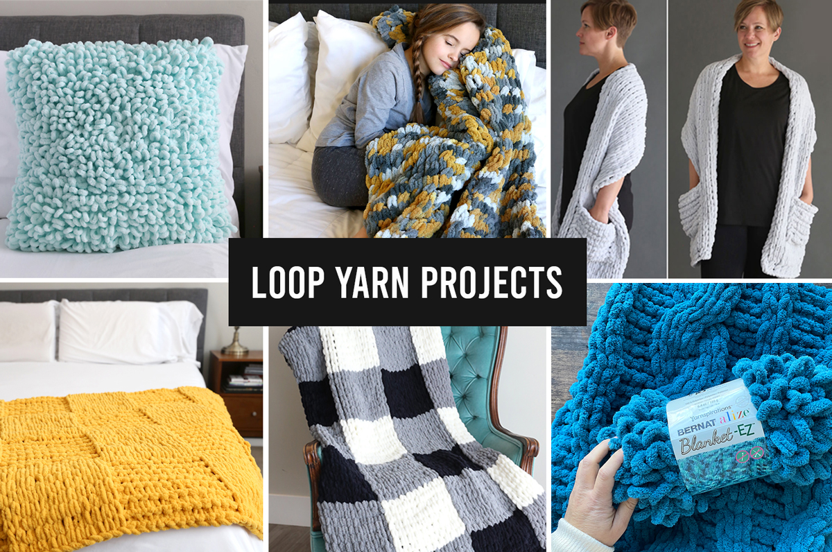 Collage photo of different loop yarn projects