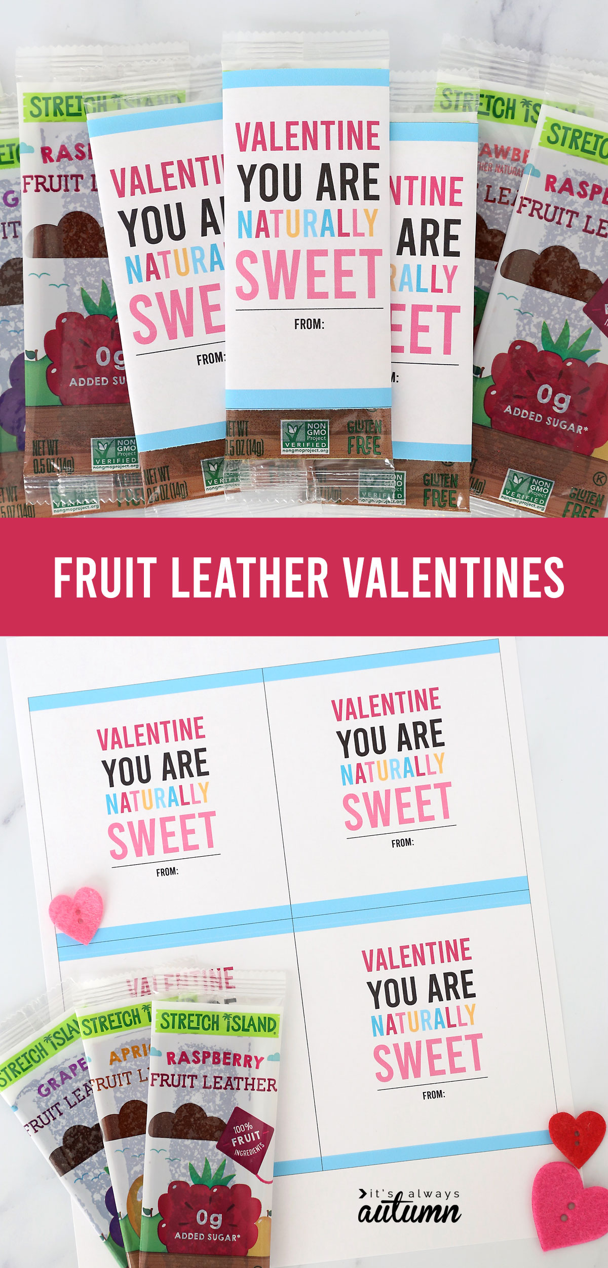 Fruit leather Valentines with printable tags